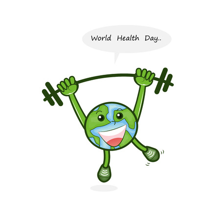 Globe sign and dumbbell vector logo design template.World Health Day icon.World Health Day cartoon mascot character.World Health Day idea campaign concept for greeting card and poster.Vector illustration