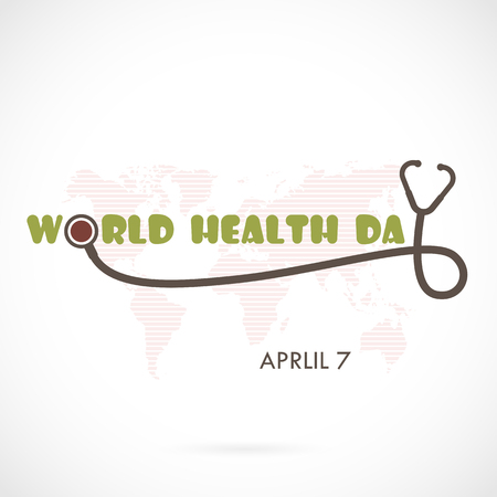 globe logo: World Health Day Typographical Design Elements. World Health Day lettering icon.World Health Day logotype symbol.Design for greeting Card,Poster,Flyer,Cover,Brochure,Abstract background.Vector illustration