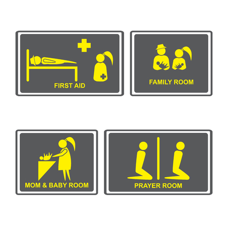 Family room,prayer room, Mom and baby room on Signboards. People icons set. Illustration
