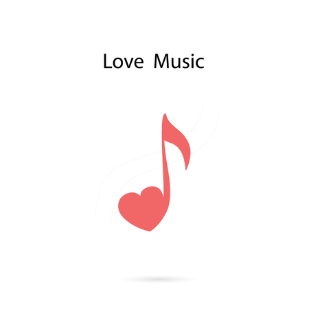 Musical Note Heart Shape Vector Logo Design Template Royalty Free