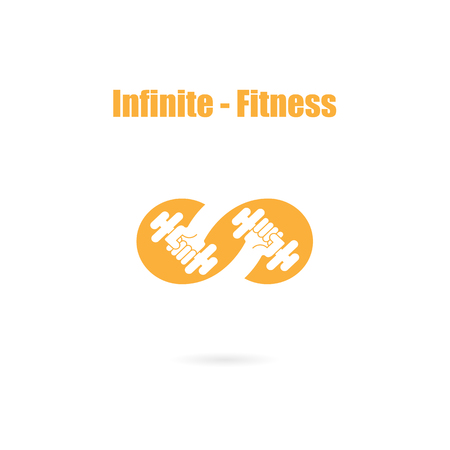 Infinite sign and dumbbell icon.Infinit,Fitness and gym logo.Healthcare,sport,medical and science symbol.Healthy lifestyle vector logo template.Vector illustration