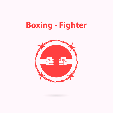 vehemence: Human Hand icon and barbed wire logo design template.Boxing and fighter icon.Fighting academy boxing champions club logo design.Vector illustration. Illustration