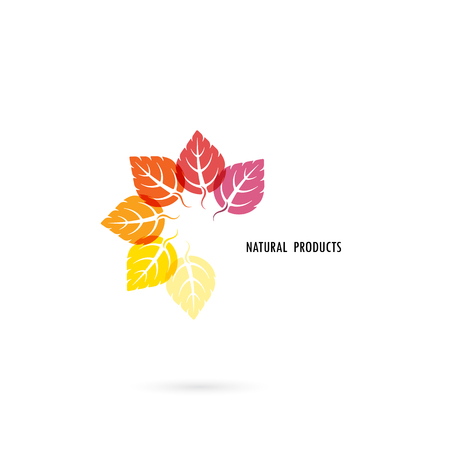 Circle of colorful leaves icon with nature concept.Leaves vector logo design template.Design for Business logo,product brand,banner or abstract symbol.Vector illustration.