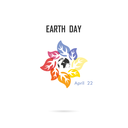 Circle of colorful leaves icon and globe icon vector logo design template.Earth Day campaign idea concept.Earth Day idea campaign for greeting Card,Poster,Flyer,Cover or Brochure.Vector illustration