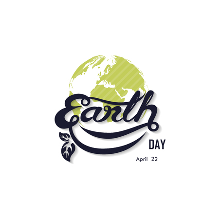 Globe sign and Green Earth Day Typographical Design Elements. Earth Day hand lettering icon.Earth Day logotype symbol.Design for greeting Card,Poster,Flyer,Cover,Brochure,Abstract background.Vector illustration