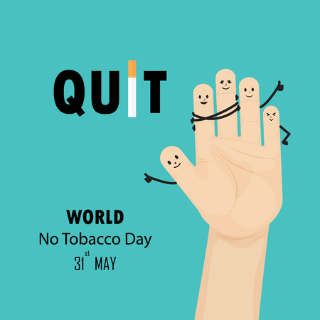Human hands and Quit Tobacco sign.May 31st World no tobacco day.No Smoking Day Awareness.Vector illustration.