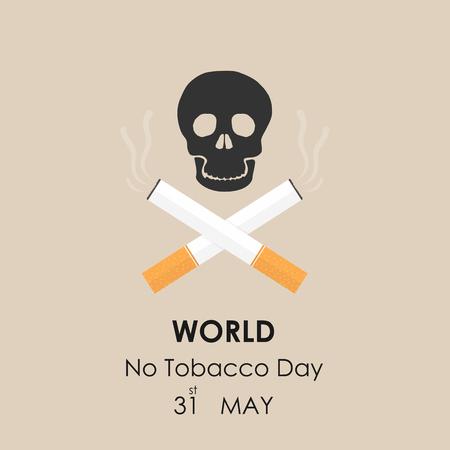 31st: Human skull and Quit Tobacco sign.May 31st World no tobacco day.No Smoking Day Awareness.Vector illustration.