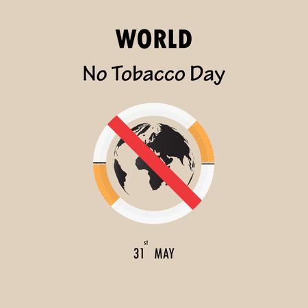 世界地图图标和戒烟标志。5月31日世界无烟日禁止吸烟日意识。矢量插图。