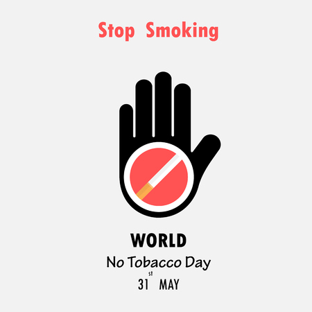 inhalation: Human hands and Quit Tobacco sign.World no tobacco day.No Smoking Day Awareness.Vector illustration. Illustration
