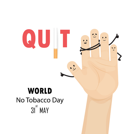 31st: Human hands and Quit Tobacco sign.May 31st World no tobacco day.No Smoking Day Awareness.Vector illustration.