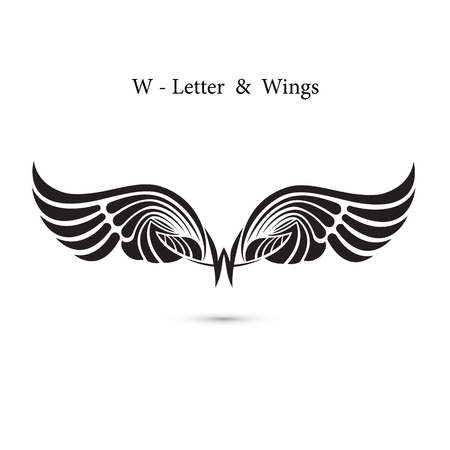 W-letter sign and angel wings.Monogram wing logo mockup.Classic emblem.Elegant dynamic alphabet letters with wings.Creative design element.Corporate branding identity.Flat web design wings icon.Vector illustration. Illustration