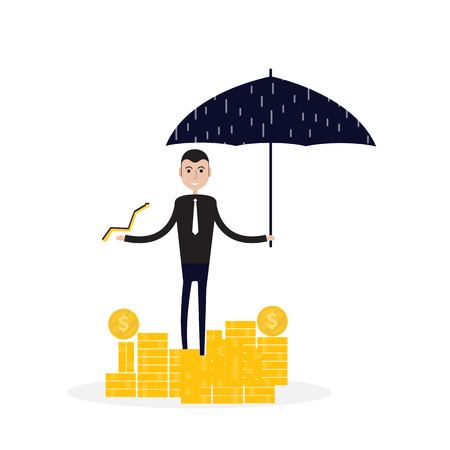 Manager, office worker or businessman holding an open umbrella over golden coins. Concept of business insurance vector flat design illustration