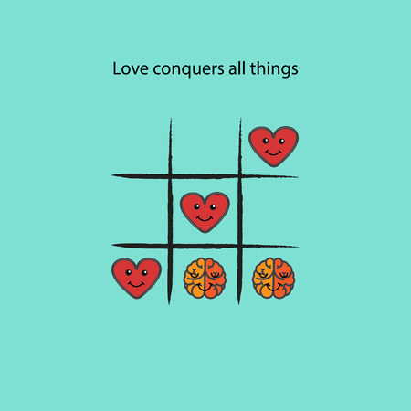 heart intelligence: Simple game - X-O game.Tic-tac-toe elements.Love conquers all things concept.Vector illustration