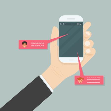 Main tenant un téléphone mobile. Concept de réseau social. Fenêtre messenger. Concept de chat, de ligne et de messagerie. Illustration vectorielle. Banque d'images - 83493948