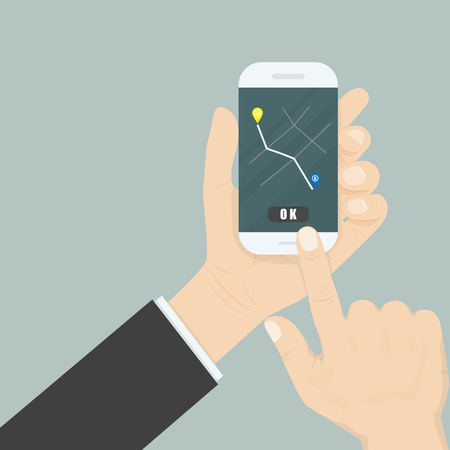 points of interest: Hand and mobile smart phone with map gps navigation application interface on the screen.Map gps navigation application.Map Location Information Web Layout Concept.Vector illustration Illustration