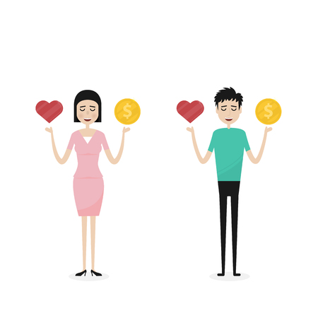 health equity: Business man and Business woman,Business people,Manager or Official with the golden coins and red heart icon on his hand.Concept of work and life balance.Vector flat design illustration Illustration
