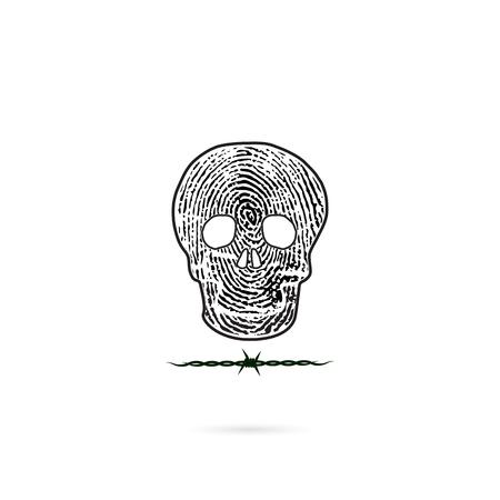 Human skull silhouettes with fingerprint and barbed wire icon. Human skull and barbed wire tattoo logo design vector template.Skull front face logo.Vector illustration
