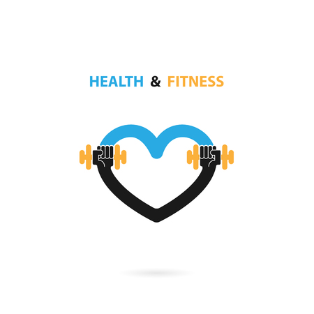 Heart sign and dumbbell icon.Fitness and gym logo.Healthcare,sport,medical and science symbol.Healthy lifestyle vector logo template.Vector illustration