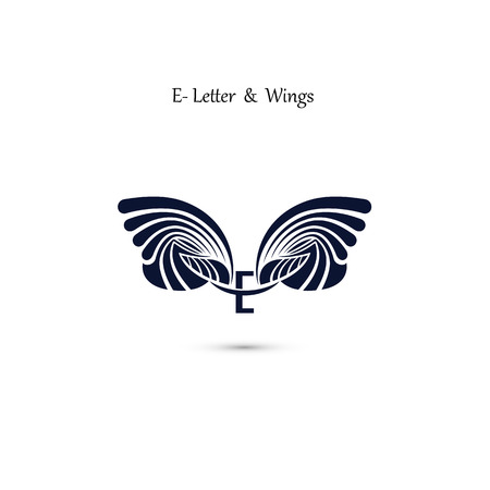 e business: E-letter sign and angel wings.Monogram wing vector logo template.Classic emblem.Elegant dynamic alphabet letters with wings.Creative design element.Corporate branding identity.Flat web design wings icon.Vector illustration.