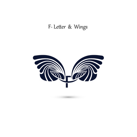 F-letter sign and angel wings.Monogram wing vector logo template.Classic emblem.Elegant dynamic alphabet letters with wings.Creative design element.Corporate branding identity.Flat web design wings icon.Vector illustration. Logo