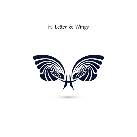 H-letter sign and angel wings.Monogram wing vector logo template.Classic emblem.Elegant dynamic alphabet letters with wings.Creative design element.Corporate branding identity.Flat web design wings icon.Vector illustration. Illustration