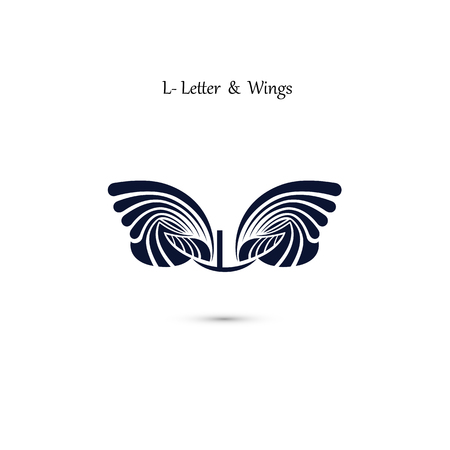 L-letter sign and angel wings.Monogram wing vector logo template.Classic emblem.Elegant dynamic alphabet letters with wings.Creative design element.Corporate branding identity.Flat web design wings icon.Vector illustration.
