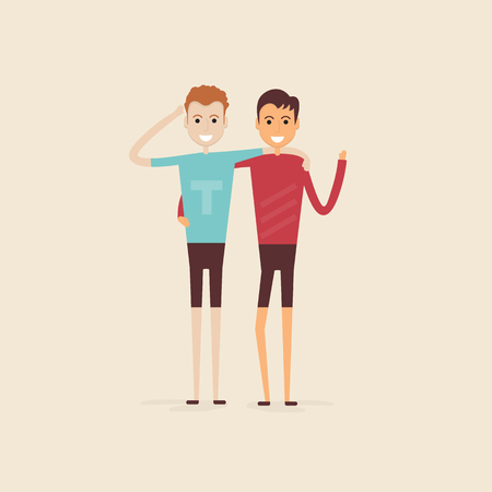 Adult guys,Men,Two best friends.Happy smiling young men friends.Happy best friends meeting.Happy couple icon.Happy friends two man,Friendly hug and Friendship concept.Vector illustration.