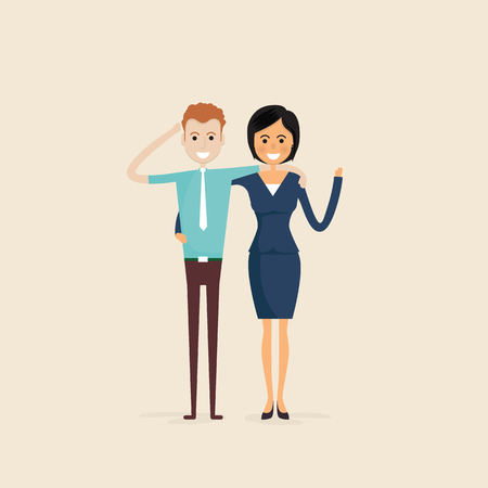 and two friends: Adult,Men,Women,Two best friends.Happy smiling young man and woman friends.Happy best friends meeting.Happy couple icon.Happy friends icon.Friendly hug and Friendship concept.Vector illustration. Illustration