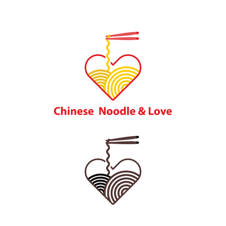 Noodle restaurant and food with heart shape logo vector design.Chinese noodle logo design template.Taste of Asia logo template design.Vector Illustration.