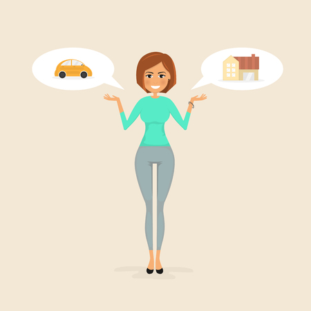 Young woman,Pretty girl with small car sign & house icon.Woman making a presentation.Selection of Vehicle loan & Home loan concept.Real Estate and transport concept.Smart life & Work life balance concept.Vector illustration.
