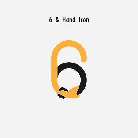 Creative 6- Number icon abstract and hands icon design  template.Business offer,partnership,hope,support or help concept.Corporate business and industrial  symbol. illustration