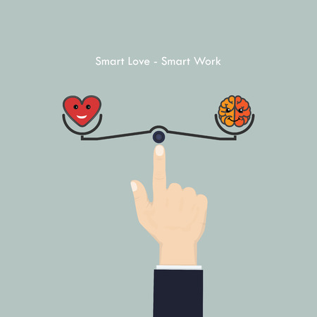 work life balance: Human hand with heart sign and brain icon.Smart love and Smart work concept.Work life,business and Lifestyle balance concept.Vector illustration.