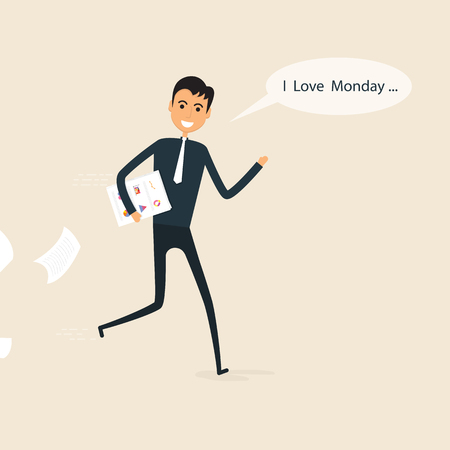 Happy businessman and reports in a his hand with I love monday in the speech bubble.I love monday concept.Cartoon and businessman symbol, business concept. Vector illustration