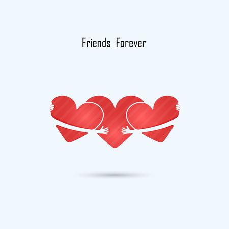 Friends forever vector logo design template.Wedding logo.Family sign.Boyfriend & girlfriend symbol.Love & Heart Care logo.Heart shape and healthcare & medical concept.Vector illustration Illustration
