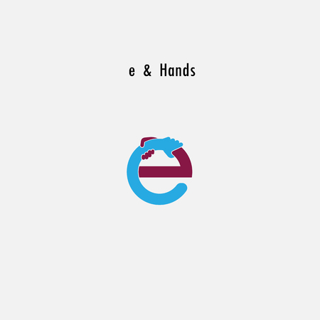 Letter e abstract icon and hands logo design vector template Vector illustration