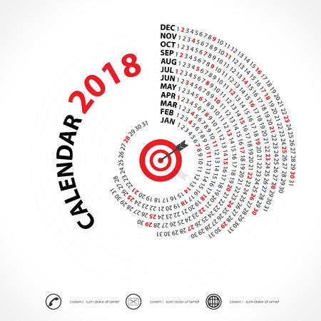 2018 Calendar Calendar.Spiral calendar.Calendar 2018 Set de 12 mois. Modèle de papeterie design Vector.Week commence lundi.