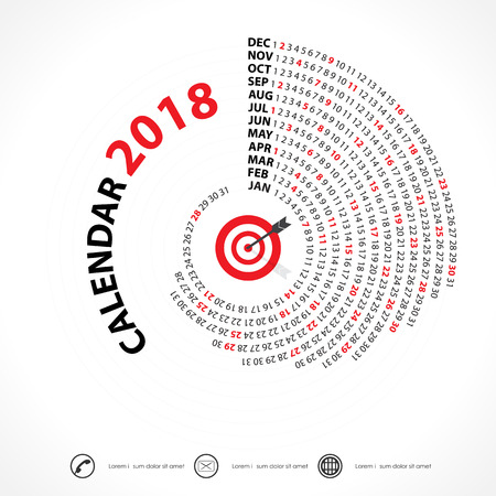 2018 Calendar Template.Spiral calendar.Calendar 2018 Set of 12 Months.Vector design stationery template.Week starts Monday.