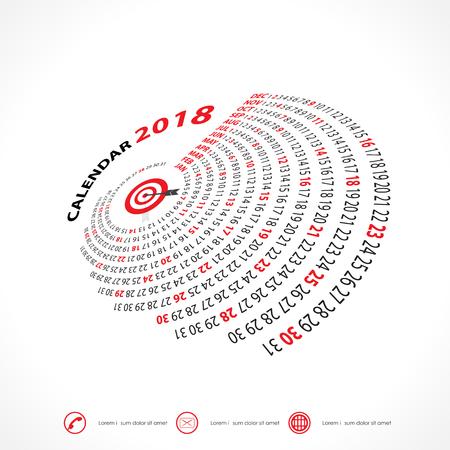 event planner: 2018 Calendar Template.Spiral calendar.Calendar 2018 Set of 12 Months.Vector design stationery template.Week starts Monday.