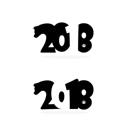 event planner: Happy new year 2018 Text Design with head and footprint of dog symbol.