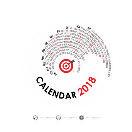 event planner: 2018 Calendar Template on a white background.