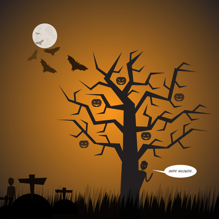 Halloween Background.Graveyard Background.Vector Halloween orange background with the big tree and men,bats and full moon.Vector illustration.