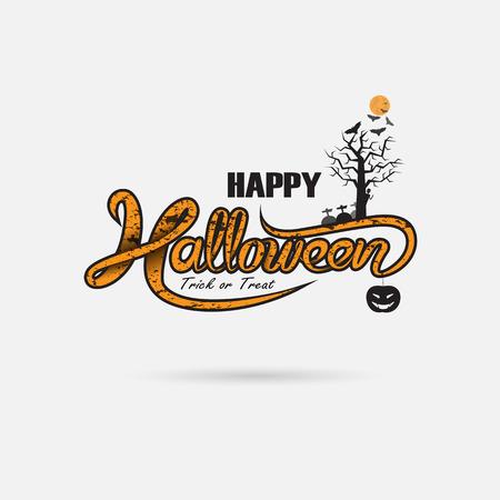 Halloween banner calligraphy Illustration