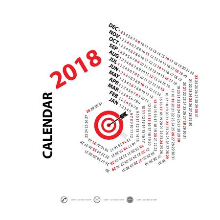 event planner: 2018 Calendar Template.Hexagon shape calendar.Vector design stationery template.Flat style color vector illustration.Yearly calendar template.Calendar 2018 Set of 12 Months.