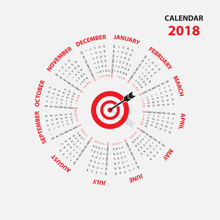 2018 Calendar Template.Calendar for 2018 year.Calendar Starts from Sunday.Vector design stationery template.Flat style color vector illustration.Yearly calendar template.Calendar 2018 Set of 12 Months. Illustration