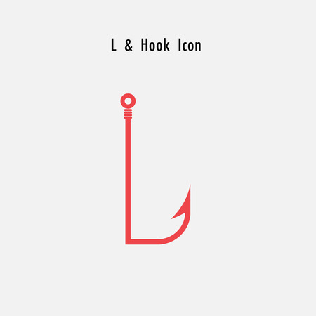 Creative L- Letter icon abstract and hook icon design vector template.Fishing hook icon.Alphabet icon.Vector illustration
