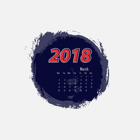 March 2018 calendar template. Starts from Monday.