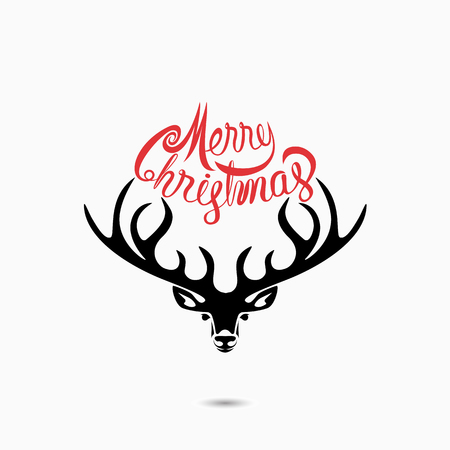 Head of Deer.Merry Christmas Typographical Design Elements.Merry Christmas vector text calligraphic lettering design card template.Creative typography for Holiday greeting Poster.Calligraphy font style banner.Vector illustration Illustration