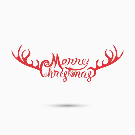 Merry Christmas Typographical Design Elements.Merry Christmas vector text calligraphic lettering design card template.Creative typography for Holiday greeting Poster.Calligraphy font style banner.Vector illustration Ilustração