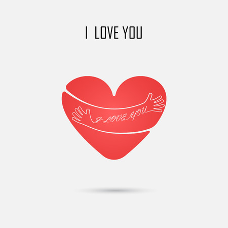 Red Heart sign and I LOVE YOU Typographical Design Elements.Hug and Love logo.Hand,Heart shape and Valentines day concept.Vector illustration