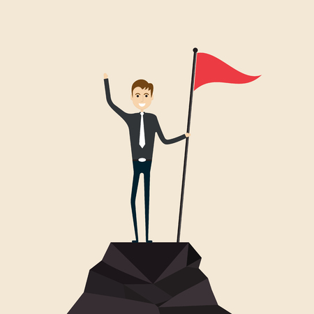 Achievement,Success and Leadership concept.Climber with flag conquering top of mountain.Businessman holding a flag on mountain peak.Business people climb to the top of the mountain.Business vector concept illustration